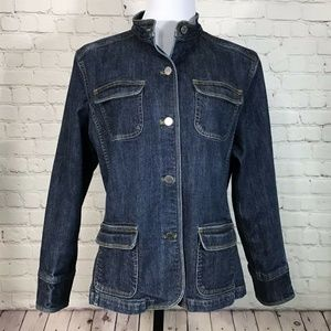 Eddie Bauer Blue Denim Jacket Mandarin Collar XL